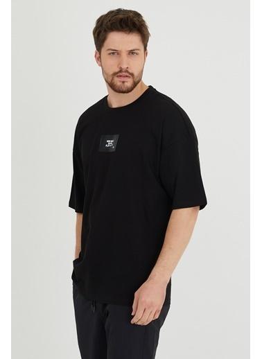 XHAN Mint Baskılı Oversize T-Shirt 1Kxe1-44634-58 Siyah